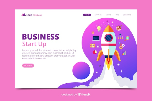 Start up landing page with hand drawn rocket