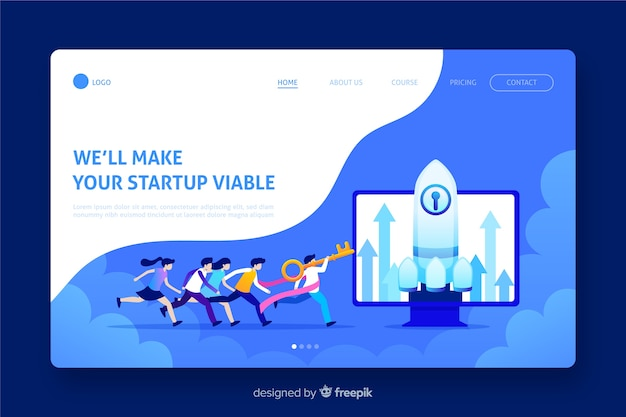 Start up landing page with illustrations