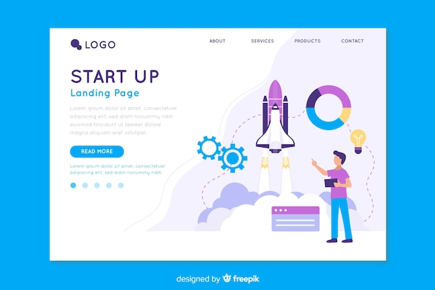 Start up landing page with information