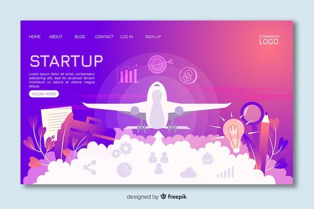 Start-up landing page with landing plane