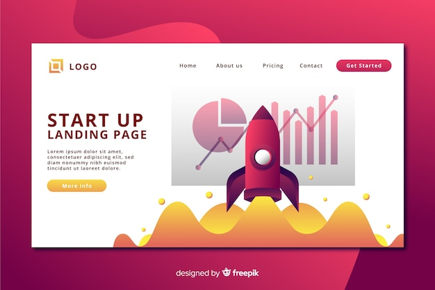 Start-up landing page with landing rocket