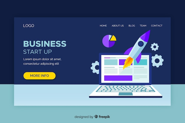 Start-up landing page with laptop and rocket