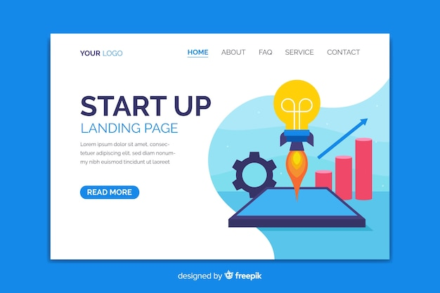 Start up landing page with light bulb