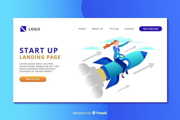 Start-up landing page with person on a rocket