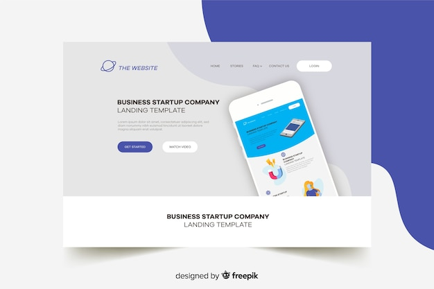 Start-up landing page with phone and grey background