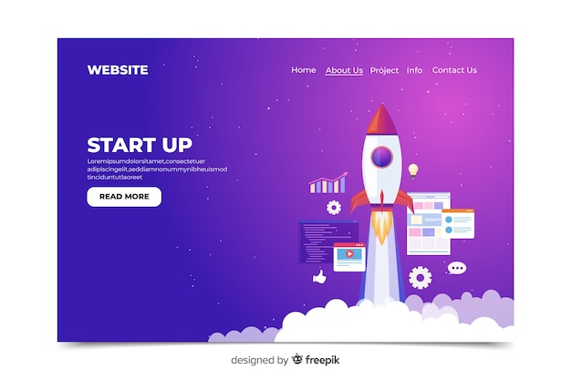 Start up landing page with rocket