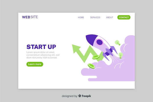 Start up landing page with spaceship and arrow