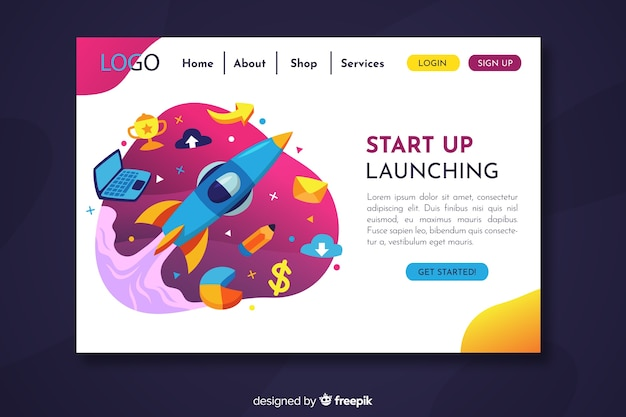 Start up landing page with spaceship flying through objects mixture