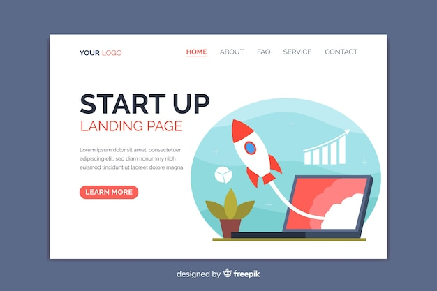 Start up landing page with spaceship