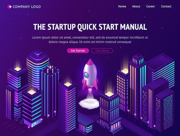 Start up launch in smart city isometric web