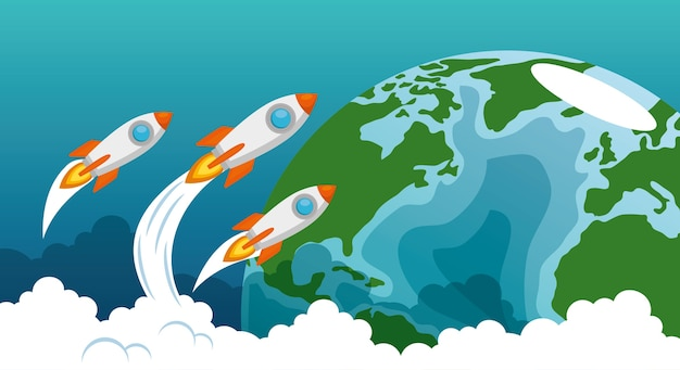 Start up launcher set rockets with earth planet