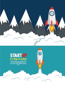 Start up launcher set rockets