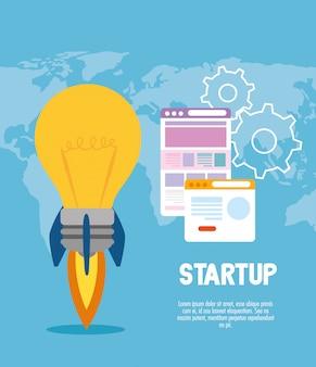 Start up light bulb rocket with websites vector design