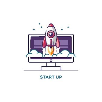 새로운 비즈니스 프로젝트 개발의 라인 플랫 디자인 일러스트레이션 컨셉을 시작하고 시장에 혁신 제품을 출시하십시오.
