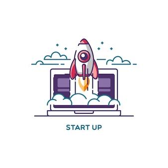 시작합니다. 새로운 비즈니스 프로젝트, 개발 및 시장에 혁신 제품 출시의 라인 플랫 디자인 일러스트 컨셉.