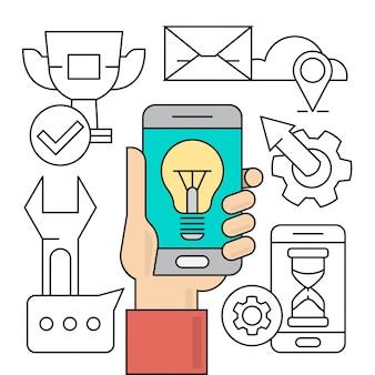 リニアスタートアップとビジネス要素モバイル技術