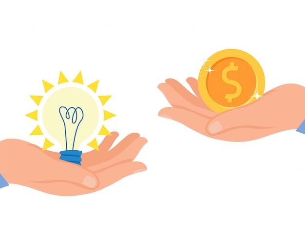 Запуск монетизации плоский векторные иллюстрации