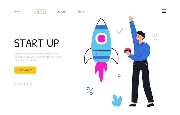 Start up new project. businessman launches a rocket. landing page template. vector flat hand drawn illustration.