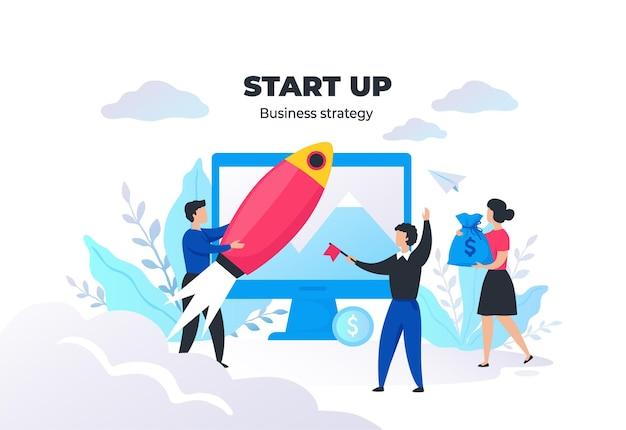 人々の概念を起動します。プロジェクト管理とビジネス戦略、会議とコミュニケーション。ベクター画像デジタルマーケティング成功したブランドの創造性のスタートアップ