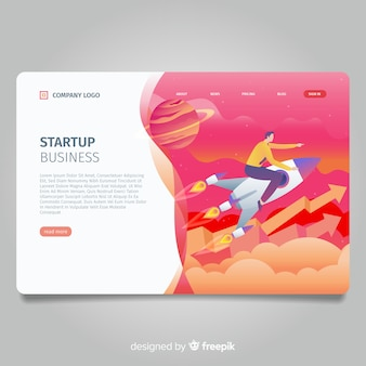 Start up project landing page with man on rocket