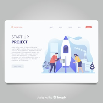 Start up project landing page with rocket