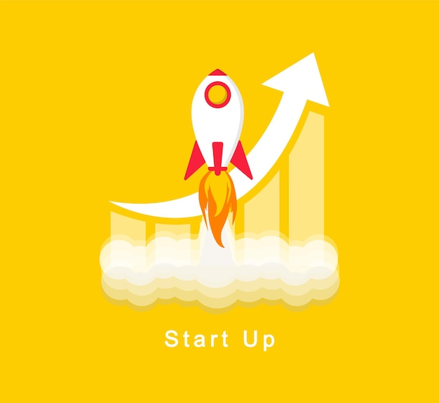 Start up rocket launch on a yellow background