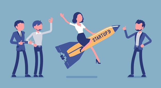 로켓 발사를 시작합니다. 기업과 기업가, 빠르게 성장하는 회사는 새로운 아이디어를 만들고 관리하며 시장을 만나는 것을 목표로 합니다. 얼굴 없는 문자가 있는 벡터 비즈니스 개념 그림