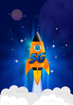ロケットを起動します。煙の雲無線ネットワーク速度の概念、5gの進化