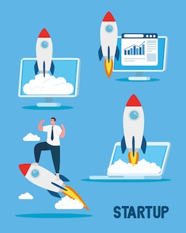 Start up rockets in laptop computer and man vector design