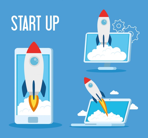 Start up rockets in smartphone laptop and computer vector design
