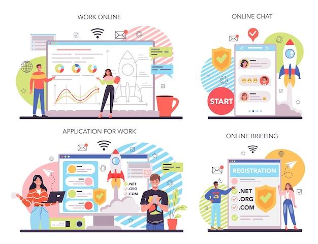Start up running online service or platform set