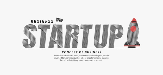 Start up scribble text with rocket background business start up lettering typography concept