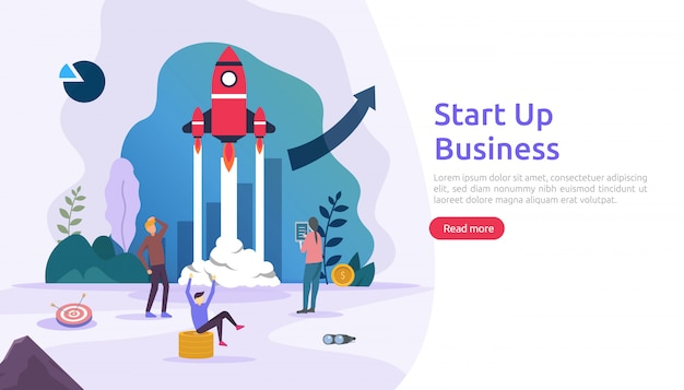 Start up service or new product idea launch concept. project business with rocket tiny people character. template for web landing page, banner, presentation, social, print media. illustration