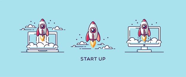 트렌디 한 선형 스타일로 세트 디자인 요소를 시작합니다. 로켓 우주선. 새로운 비즈니스 프로젝트 개발의 그림 개념 및 시장에 새로운 혁신 제품 출시.