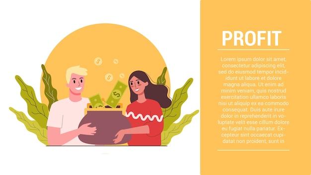 起動手順。ビジネス利益webバナー。増加、収益、成長のアイデア。