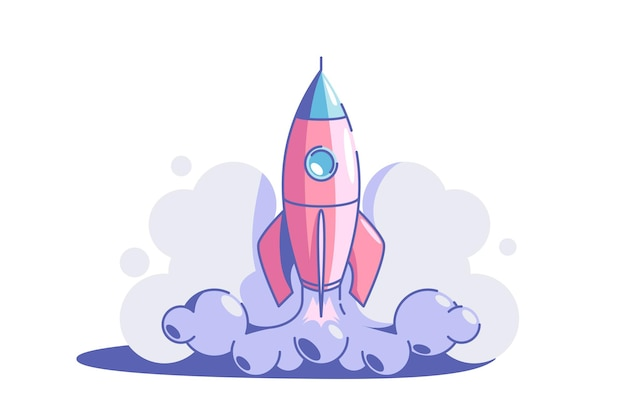 Start up symbol vector illustration rocket launch flat style business creativity and achievement success and goal new creative idea and project strategy concept isolated