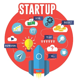 Start up vector flat illustration creative concept, project, budget, team search, goal, inspiration idea, rocket spaceship. on red background.