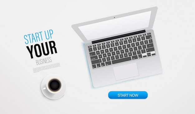 Start up your business promo landing page template with laptop and sample text. top view vector layout