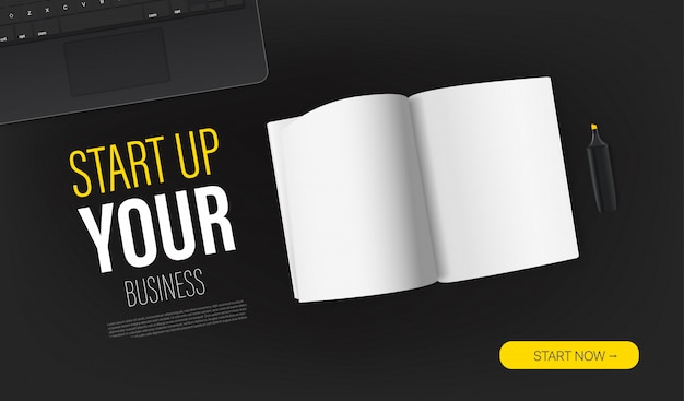 Start up your business promo landing page template with paper book and sample text. top view  layout