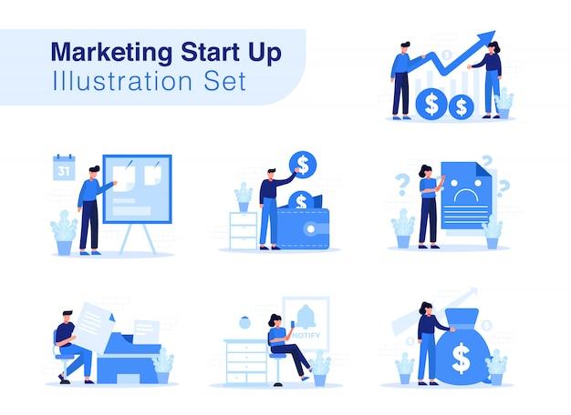 Маркетинг start up иллюстрация набор