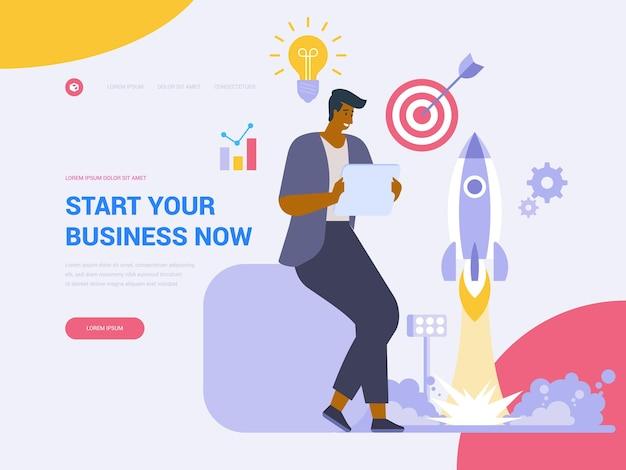 あなたのビジネスのランディングページのベクトルテンプレートを開始します。スタートアップの立ち上げウェブサイトのホームページのインターフェイスのアイデアとフラットなイラスト。プロジェクト管理。事業開発ウェブバナー漫画のコンセプト