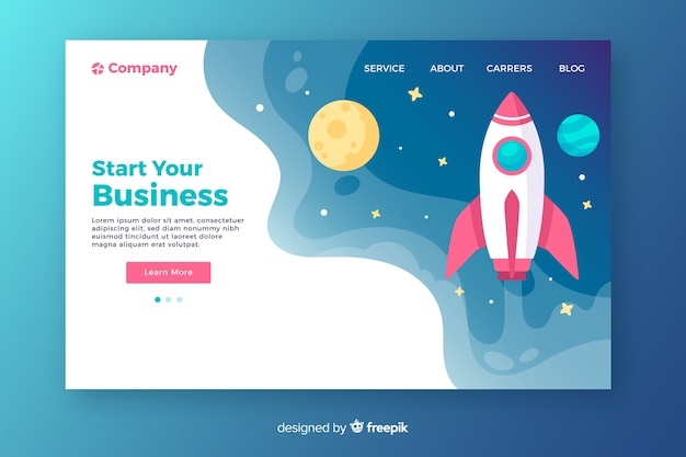 Start your business rocket landing page