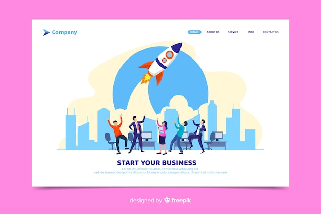 Start your business startup landing page