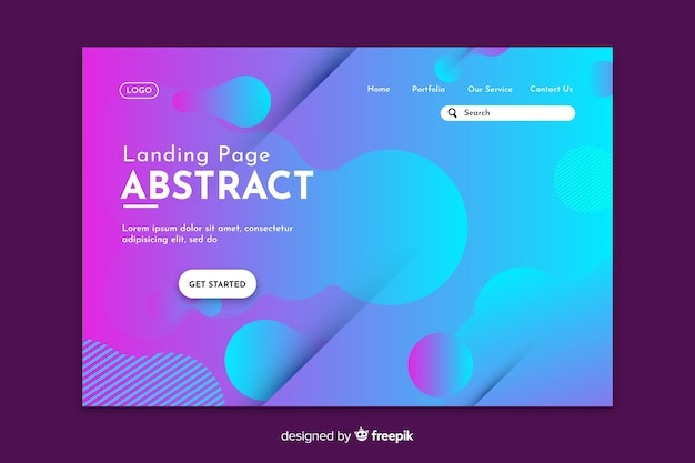 Starting abstract blue landing page