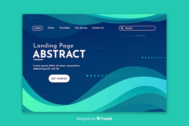 Starting abstract turquoise landing page
