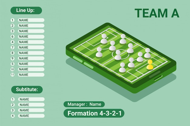 Starting line up formation information, smartphone isometric flat design illustration