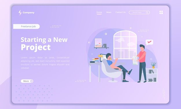 Starting a new project for freelancer landing page
