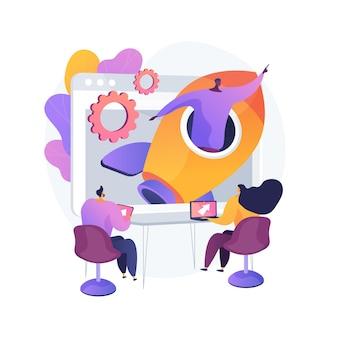 スタートアップの抽象的な概念のベクトル図です。スタートアップの立ち上げ、起業家精神、新しいビジネスアイデア、自営業、ビジネスベンチャー、メンタリング、市場検証、投資の抽象的な比喩。