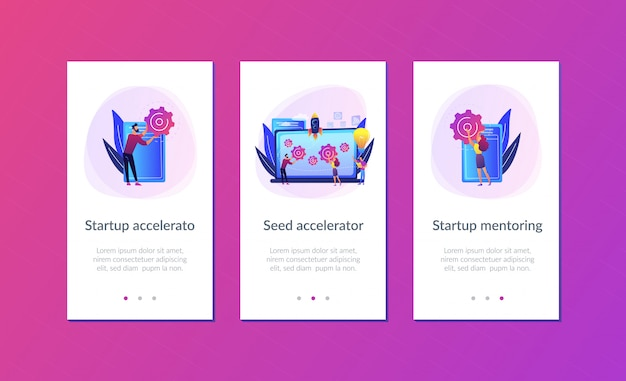 Startup accelerator app interface template.