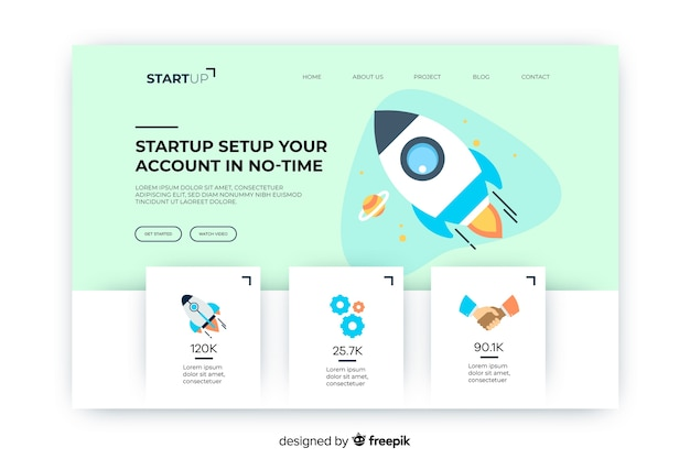 Startup account in no-time landing page